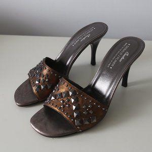 DONALD J. PLINER Bronze Studded Open Toe Heels